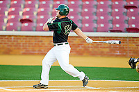 Tony Montalbano #14 of the Charlotte 49ers follows through on his swing against the Wake Forest Demon Deacons at Gene Hooks Field on March 22, 2011 in Winston-Salem, North Carolina.   Photo by Brian Westerholt / Four Seam Images
