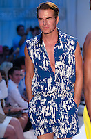 Vincent De Paul walks runway at A.Z Araujo Swimwear Show during Mercedes Benz IMG Fashion Swim Week 2014 at The Raleigh Hotel, Miami Beach, FL on July 21, 2013