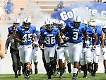 30 September 2006: Duke's Beau Tooley (45), Evalio Harrell (38), and Vince Oghobaase (3) lead the team onto the field. The Duke University Blue Devils lost 37-0 to the University of Virginia Cavaliers at Wallace Wade Stadium in Durham, North Carolina in an Atlantic Coast Conference NCAA Division I College Football game.