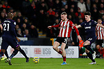 Oliver McBurnie of Sheffield United runs away from Declan Rice of West Ham United during the Premier League match at Bramall Lane, Sheffield. Picture date: 10th January 2020. Picture credit should read: James Wilson/Sportimage