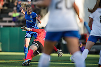 Seattle, Washington - Saturday, July 2nd, 2016: Seattle Reign FC midfielder Beverly Yanez (17) watches the ball pass the Boston Breakers goalkeeper during a regular season National Women's Soccer League (NWSL) match between the Seattle Reign FC and the Boston Breakers at Memorial Stadium. Seattle won 2-0.