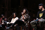 "Terrance Spencer, Raven Thomas, Sasha Hollinger, Roddy Kennedy on stage during The Rockefeller Foundation and The Gilder Lehrman Institute of American History sponsored High School student #eduHam matinee performance of ""Hamilton"" Q & A at the Richard Rodgers Theatre on November 7, 2018 in New York City."