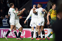 Elliot Daly of England celebrates a try with team-mates. Quilter International match between England and Australia on November 24, 2018 at Twickenham Stadium in London, England. Photo by: Patrick Khachfe / Onside Images