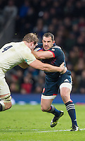 Twickenham, United Kingdom.   France, Full Back, Scott SPEDDING, faces, Joe LAUNCHBURY, during the RBS. Six Nations : England   vs France  at the  RFU Stadium, Twickenham, England, <br /> <br /> Saturday  04/02/2017<br /> <br /> [Mandatory Credit; Peter Spurrier/Intersport-images]