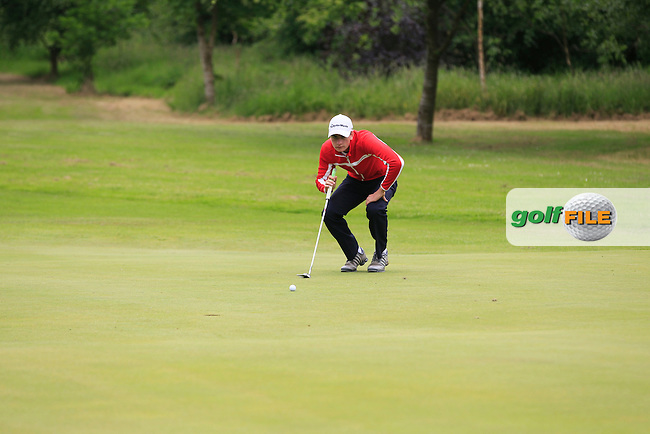 Toby Lane (England) on the 6th green during Round 2 of the Irish Boys Amateur Open Championship at Tuam Golf Club on Wednesday 24th June 2015.<br /> Picture:  Thos Caffrey / www.golffile.ie
