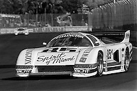 MIAMI, FL - MARCH 2: Emerson Fittipaldi and Bobby Rahal teamed to drive the Ralph Sanchez Racing March 85G/Chevrolet during the Lowenbrau Grand Prix of Miami IMSA GTP race on the temporary street circuit in Bicentennial Park in Miami, Florida, on March 2, 1986.