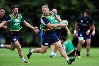 Ross Batty of Bath Rugby looks to pass the ball. Bath Rugby pre-season training session on August 9, 2016 at Farleigh House in Bath, England. Photo by: Patrick Khachfe / Onside Images