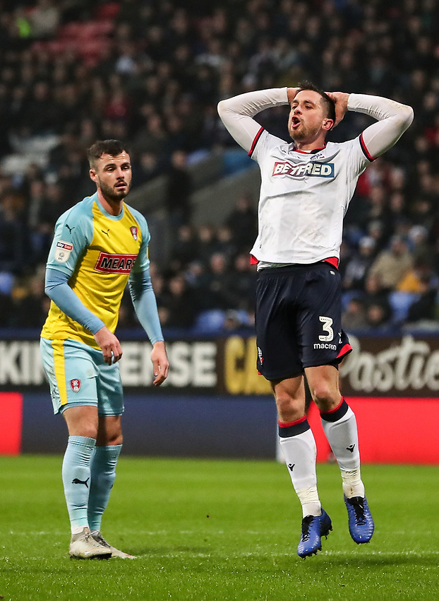 Bolton Wanderers' Andrew Taylor rues a near miss<br /> <br /> Photographer Andrew Kearns/CameraSport<br /> <br /> The EFL Sky Bet Championship - Bolton Wanderers v Rotherham United - Wednesday 26th December 2018 - University of Bolton Stadium - Bolton<br /> <br /> World Copyright © 2018 CameraSport. All rights reserved. 43 Linden Ave. Countesthorpe. Leicester. England. LE8 5PG - Tel: +44 (0) 116 277 4147 - admin@camerasport.com - www.camerasport.com