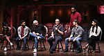 "Gabby Sorrentino, Johanna Moise, Marc delaCruz, Terrance Spencer, Eric Castaldo, Deon'te Goodman, Thayne Jasperson and Lauren Boyd during the Q & A before The Rockefeller Foundation and The Gilder Lehrman Institute of American History sponsored High School student #EduHam matinee performance of ""Hamilton"" at the Richard Rodgers Theatre on 5/22/2019 in New York City."