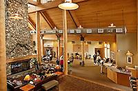 Hotel lobby, Talkeetna Alaskan Lodge, Alaska, AK, USA