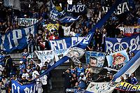 BOGOTÁ-COLOMBIA, 28–04-2019: Hinchas de Millonarios durante partido de la fecha 18 entre Millonarios y Atlético Junior, por la Liga Águila I 2019, jugado en el estadio Nemesio Camacho El Campín de la ciudad de Bogotá. / Fans of Millonarios during a match of the 18th date between Millonarios and Atletico Junior, for the Aguila Leguaje I 2019 played at the Nemesio Camacho El Campin Stadium in Bogota city, Photo: VizzorImage / Luis Ramírez / Staff.