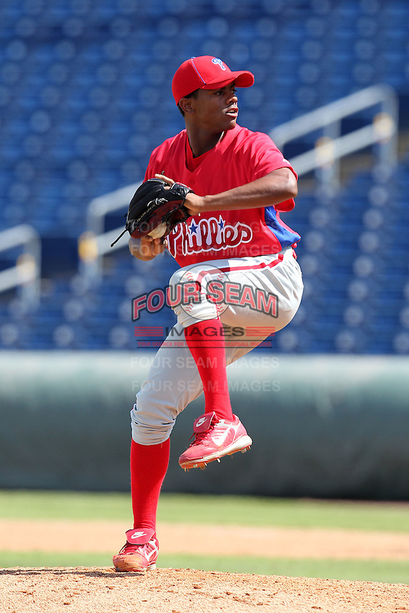 Philadelphia Phillies pitcher Ulises Joaquin #65 during an Instructional League game against the Detroit Tigers at Brighthouse Field on October 5, 2011 in Clearwater, Florida.  (Mike Janes/Four Seam Images)
