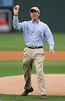 Greenville Mayor Knox White throws out the first pitch prior to a game between the Greenville Drive and Delmarva Shorebirds on Opening Day, April 8, 2010, at Fluor Field at the West End in Greenville, S.C.