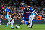 Lionel Andres Messi (l) of FC Barcelona fights for the ball with Adalberto Penaranda of Malaga CF during the La Liga 2017-18 match between FC Barcelona and Malaga CF at Camp Nou on 21 October 2017 in Barcelona, Spain. Photo by Vicens Gimenez / Power Sport Images