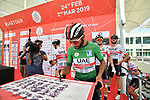 Green Jersey holder Fernando Gaviria (COL) UAE Team Emirates signs on before the start of Stage 3 of the 2019 UAE Tour, running 179km form Al Ain to Jebel Hafeet, Abu Dhabi, United Arab Emirates. 26th February 2019.<br /> Picture: LaPresse/Massimo Paolone | Cyclefile<br /> <br /> <br /> All photos usage must carry mandatory copyright credit (© Cyclefile | LaPresse/Massimo Paolone)