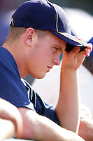Dylan Covey, first round draft choice of the Milwaukee Brewers, before game between the Brewers and the Los Angeles Angels at Anaheim Stadium in Anaheim,California on June 14, 2010. Photo by Larry Goren/Four Seam Images