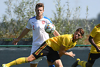20190910 - TUBIZE , BELGIUM : Belgian Antoine Colassin (R) and Czech Republican's Martin Cedidla (2) pictured during the friendly  soccer match between Men's under 19 teams of  Belgium and Czech Republic , in Tubize , Belgium . Tuesday 10th September 2019 . PHOTO SPORTPIX.BE / DIRK VUYLSTEKE