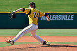 4 JUNE 2016: Reid Anderson (24) of Millersville University delivers a pitch during the Division II Men's Baseball Championship between Millersville University and Nova Southeastern University at the USA Baseball National Training Complex in Cary, NC.  Nova Southeastern University defeated Millersville University 8-6 to win the national title. Grant Halverson/NCAA Photos