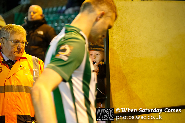 A young Blyth fan tries to get a high five as Blyth players eave the pitch at full time. Blyth Spartans v Brackley Town, 30112019. Croft Park, National League North. Photo by Paul Thompson.