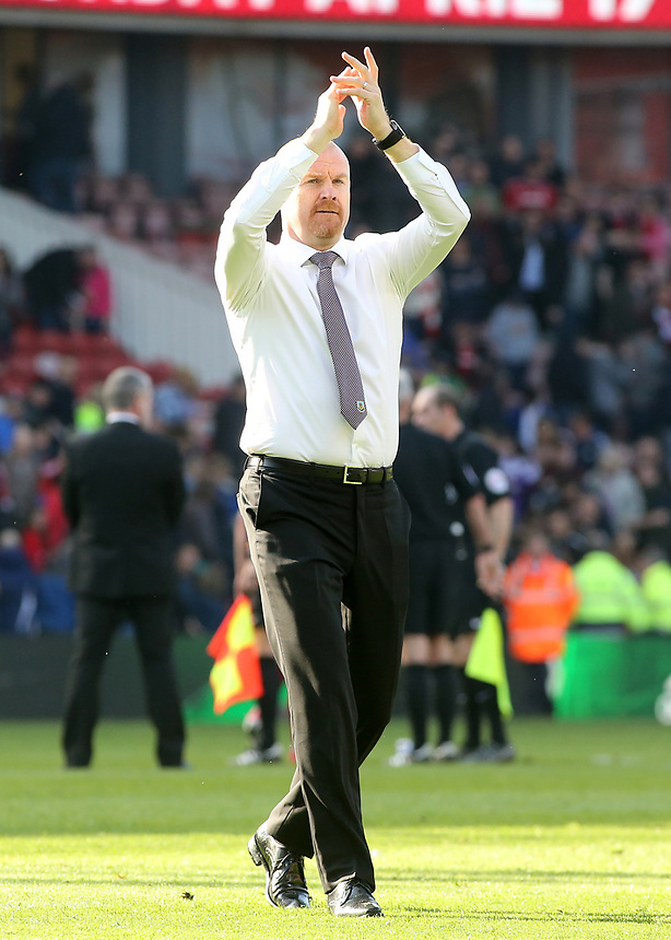 Burnley manager Sean Dyche applauds the travelling support at the final whistle<br /> <br /> Photographer David Shipman/CameraSport<br /> <br /> The Premier League - Middlesbrough v Burnley - Saturday 8th April 2017 - Riverside Stadium - Middlesbrough<br /> <br /> World Copyright &copy; 2017 CameraSport. All rights reserved. 43 Linden Ave. Countesthorpe. Leicester. England. LE8 5PG - Tel: +44 (0) 116 277 4147 - admin@camerasport.com - www.camerasport.com