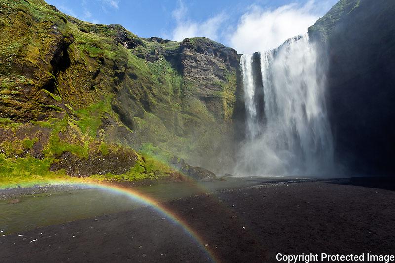Rainbow and Skogafoss Waterfall, Iceland
