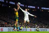 Dane Haylett-Petty of Australia and Jonny May of England compete for the ball in the air. Quilter International match between England and Australia on November 24, 2018 at Twickenham Stadium in London, England. Photo by: Patrick Khachfe / Onside Images