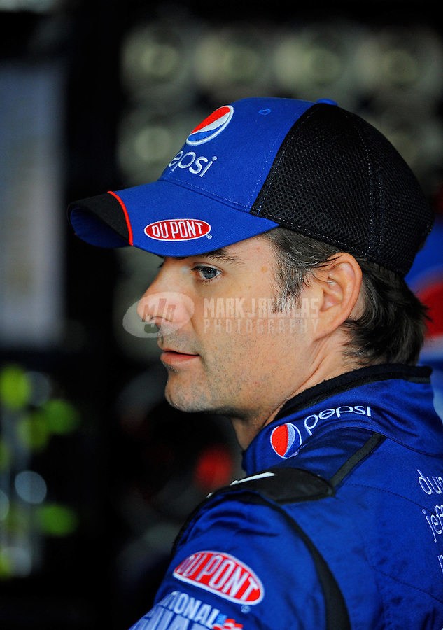Oct. 10, 2009; Fontana, CA, USA; NASCAR Sprint Cup Series driver Jeff Gordon during practice for the Pepsi 500 at Auto Club Speedway. Mandatory Credit: Mark J. Rebilas-