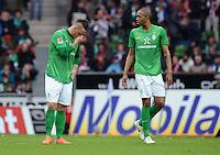 FUSSBALL   1. BUNDESLIGA   SAISON 2011/2012   32. SPIELTAG SV Werder Bremen - FC Bayern Muenchen               21.04.2012 Marko Arnautovic und Naldo (v.l, beide SV Werder Bremen) sind nach dem 1:2 enttaeuscht