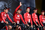 Team Sunweb on stage at the team presentation before Stage 1 of the Criterium du Dauphine 2019, running 142km from Aurillac to Jussac, France. 9th June 2019<br /> Picture: ASO/Alex Broadway | Cyclefile<br /> All photos usage must carry mandatory copyright credit (© Cyclefile | ASO/Alex Broadway)
