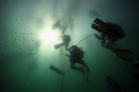 San Diego, CA, USA.  Thursday, July 15, 2010:  Divers asscend from the Wreck of the Yukon after holding a press conference to mark the tenth anniversary of it's sinking.  The wreck was prepared and sunk to form an artificial reef for recreational divers to enjoy.