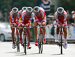 Rusvelo competes at the finish of the team time trial of the first stage of the cycling road race 'Giro del Trentino' in Arco.
