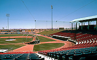 Ballparks: Adelanto's Maverick's Stadium. View down right field foul line. Largest crowd July 4, 1992--6333.