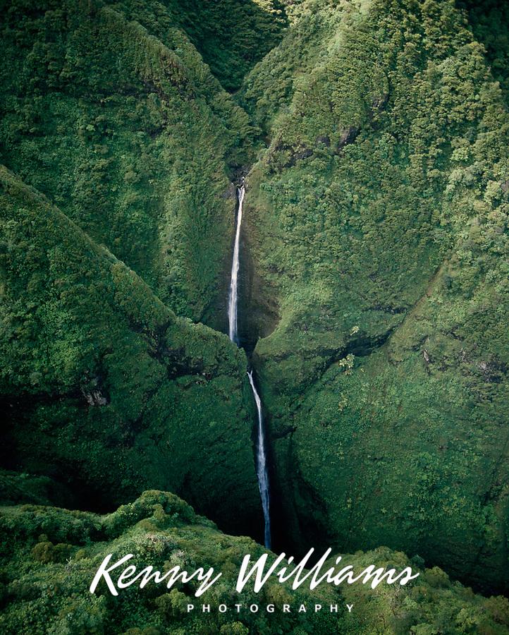 Sacred Falls, Aerial View, Oahu, Hawaii, USA.