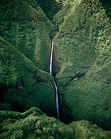 Sacred Falls, Aerial View, Oahu, Hawaii, USA.