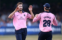 James Fuller of Middlesex celebrates taking the wicket of Adam Wheater during Essex Eagles vs Middlesex, Vitality Blast T20 Cricket at The Cloudfm County Ground on 6th July 2018