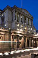 United Kingdom, England, London: Bank of England in The City financial district at night