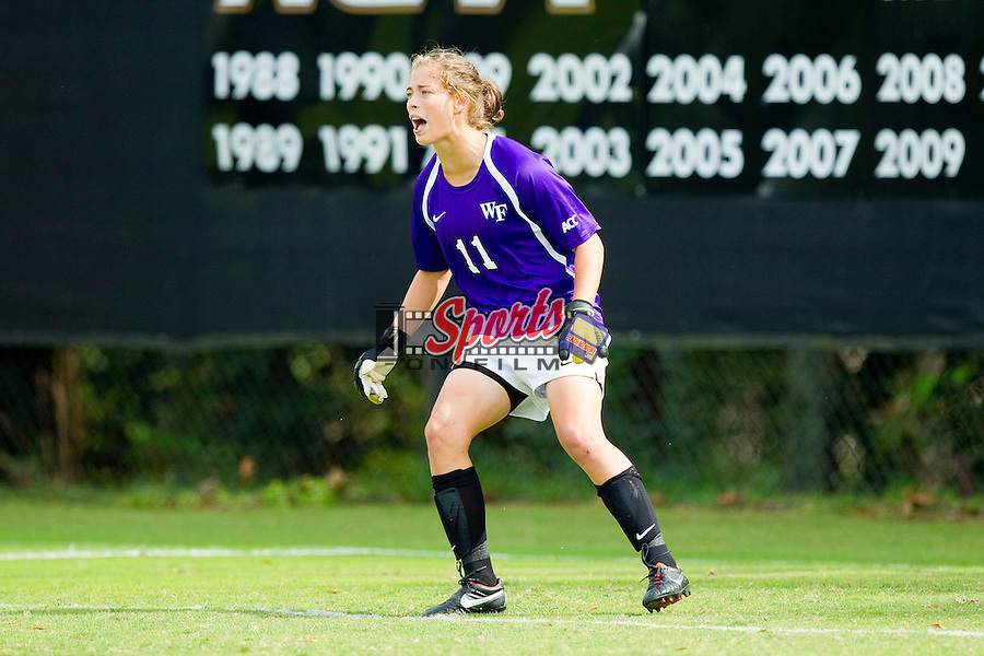 Wake Forest Demon Deacons goalie Sara Small (11) during second half action against the Clemson Tigers at Spry Soccer Stadium on September 30, 2012 in Winston-Salem, North Carolina.  The Demon Deacons defeated the Tigers 4-0.  (Brian Westerholt/Sports On Film)