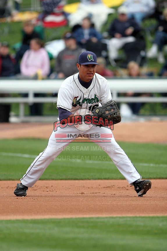 June 17th 2008:  Efren Navarro of the Cedar Rapids Kernals, Class-A affiliate of the Los Angeles Angels of Anaheim, during the Midwest League All-Star Game at Dow Diamond in Midland, MI.  Photo by:  Mike Janes/Four Seam Images