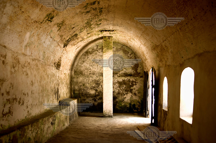 One of the holding cells in Elmina Castle. Built, in 1482, by the Portuguese as a trade post, it later became an important staging point for slaves being transported to the Americas.