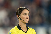 FOXBOROUGH, MA - AUGUST 31: Kathryn Nesbitt, assistant referee, during a game between Toronto FC and New England Revolution at Gillette Stadium on August 31, 2019 in Foxborough, Massachusetts.
