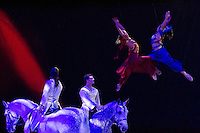 Aerialists Marta Bataller and Jennifer Lécuyer join riders Mathieu Bianchi and Grégory Molina, showcasing Cavalia's combination of equestrian disciplines and acrobatics.