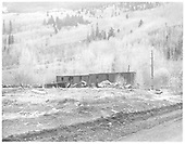Old bunk cars at the east end of Rico.<br /> RGS  Rico, CO  Taken by Payne, Andy M. - 5/20/1967