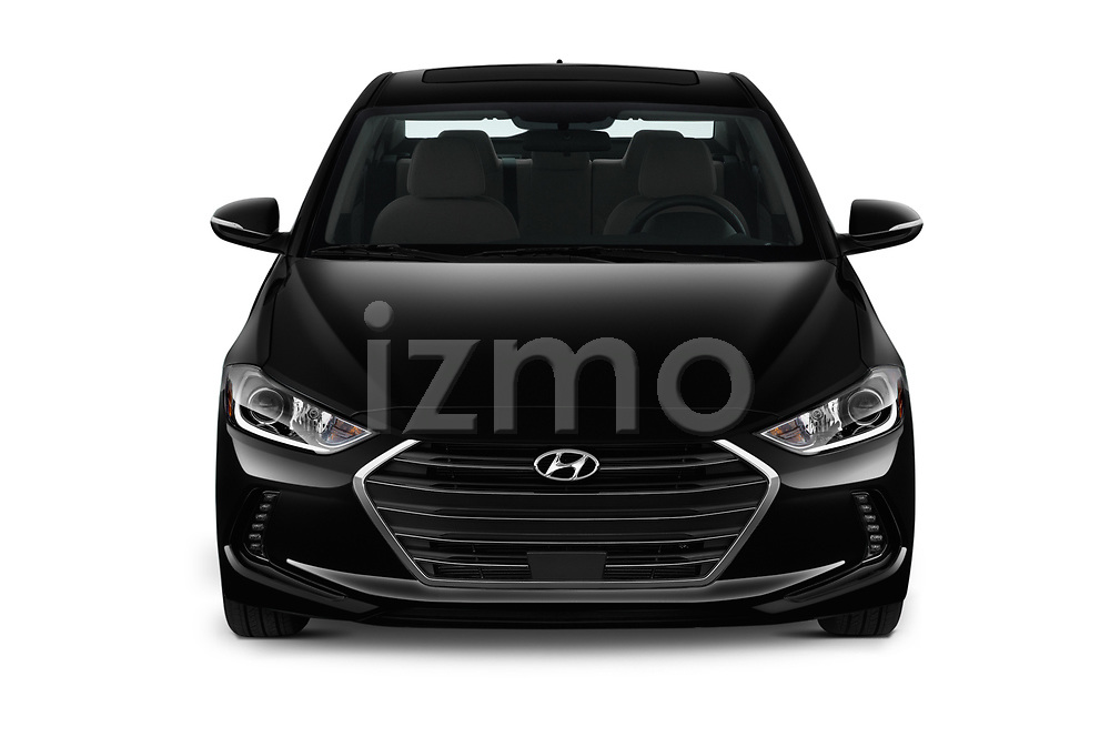 Car photography straight front view of a 2018 Hyundai Elantra Limited 4 Door Sedan