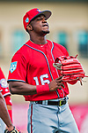 24 February 2019: Washington Nationals top prospect outfielder Victor Robles awaits the start of play prior to a Spring Training game against the St. Louis Cardinals at Roger Dean Stadium in Jupiter, Florida. The Nationals defeated the Cardinals 12-2 in Grapefruit League play. Mandatory Credit: Ed Wolfstein Photo *** RAW (NEF) Image File Available ***