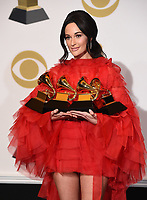 LOS ANGELES - FEBRUARY 10: Kacey Musgraves, winner of the awards for Album Of The Year and Best Country Album for 'Golden Hour;' Best Country Song for 'Space Cowboy;' and Best Country Solo Performance for 'Butterflies,' in the press room at the 61st Grammy Awards at Staples Center on February 10, 2019 in Los Angeles, California. (Photo by Frank Micelotta/PictureGroup)