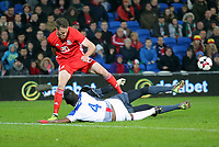 Marley Watkins of Wales (TOP) fights for the ball against Fidel Escobar and Jaime Penedo of Panama during the international friendly soccer match between Wales and Panama at Cardiff City Stadium, Cardiff, Wales, UK. Tuesday 14 November 2017.