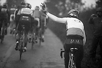 Thomas Lövkvist (SWE) asking for assistence<br /> <br /> Tour of Britain 2013<br /> stage 2: Carlisle to Kendal (187km)