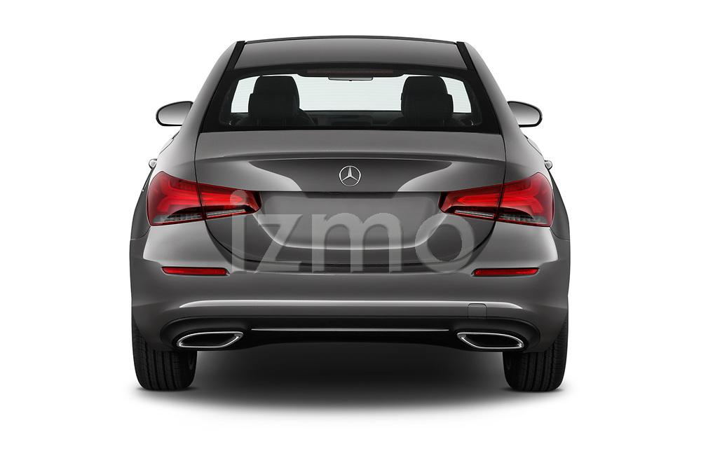 Straight rear view of a 2019 Mercedes Benz A Class A 200 4 Door Sedan stock images
