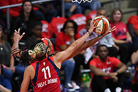 Washington, DC - Sept 17, 2019: Washington Mystics forward Elena Delle Donne (11) blocks the lay up attempt of Las Vegas Aces center A'ja Wilson (22) during WNBA Playoff semi final game between Las Vegas Aces and Washington Mystics at the Entertainment & Sports Arena in Washington, DC. The Mystics hold on to beat the Aces 97-95. (Photo by Phil Peters/Media Images International)