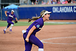 OKLAHOMA CITY, OK - JUNE 04: Taylor Van Zee #3 of the Washington celebrates after catching a pop up for an out against the Florida State Seminoles during the Division I Women's Softball Championship held at USA Softball Hall of Fame Stadium - OGE Energy Field on June 4, 2018 in Oklahoma City, Oklahoma. (Photo by Tim Nwachukwu/NCAA Photos via Getty Images)